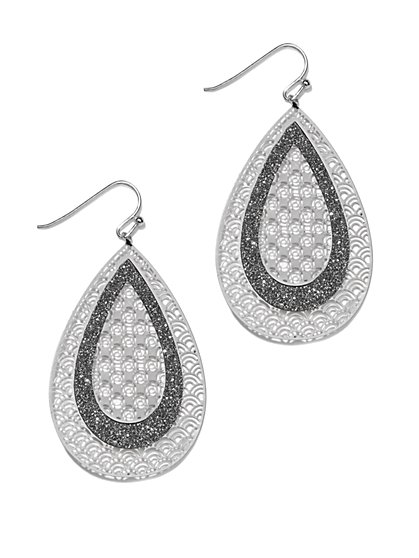 Glitter & Filigree Drop Earring  - New York & Company