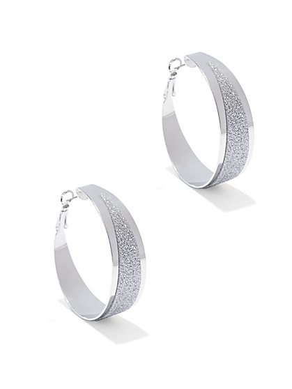 Glitter Hoop Earring  - New York & Company