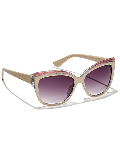 Glitter-Trim Frame Sunglasses  - New York & Company