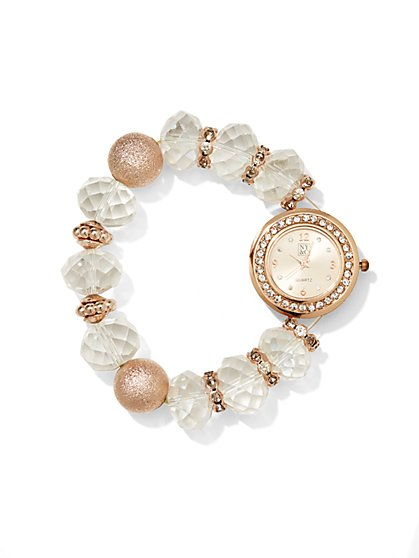 Glittering Beaded Stretch Watch   - New York & Company