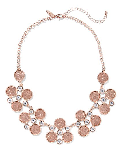 Glittering Circle Cluster Necklace  - New York & Company