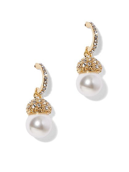 Glittering Faux Pearl Dangle Earring - New York & Company