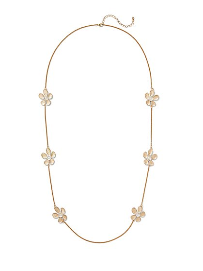 Glittering Floral Station Necklace  - New York & Company