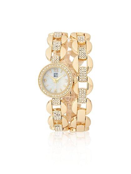 Glittering Goldtone Bracelet Watch  - New York & Company