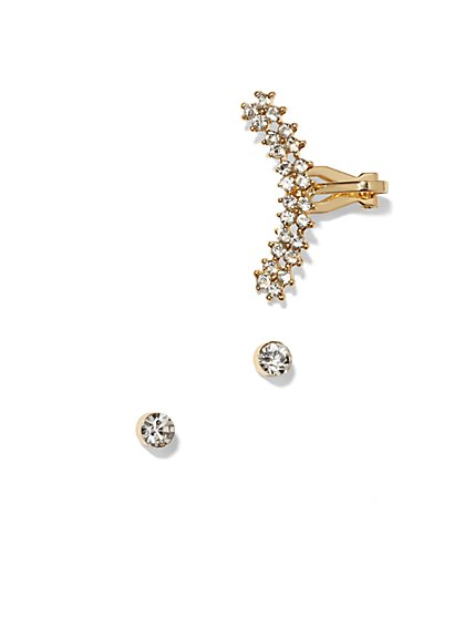 Glittering Goldtone Earring & Ear Cuff Set - New York & Company