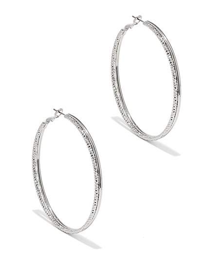 Glittering Goldtone Hoop Earring - New York & Company