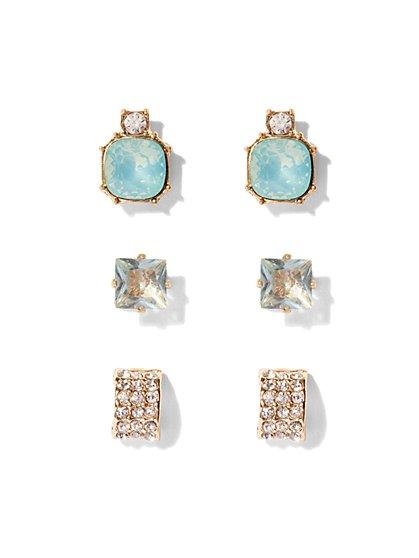 Glittering Goldtone Post Earring Set  - New York & Company