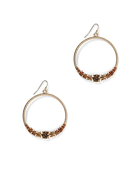 Glittering Hoop Drop Earring  - New York & Company