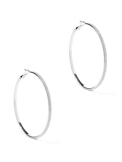Glittering Large Hoop Earrings  - New York & Company