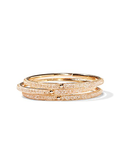 Glittering Mesh Bangle Set  - New York & Company