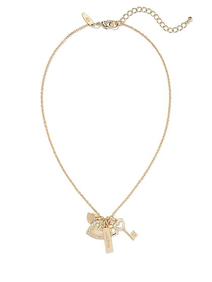 Glittering Multi-Charm Pendant Necklace  - New York & Company