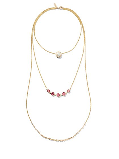 Glittering Pink Necklace  - New York & Company