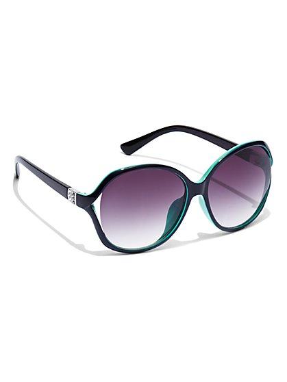 Glittering Rectangular-Frame Sunglasses  - New York & Company