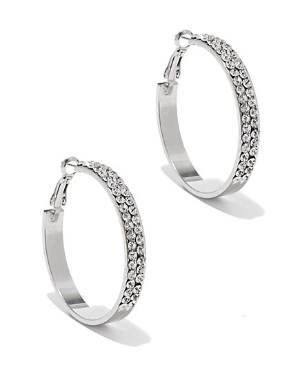 Glittering Silvertone Hoop Earring - New York & Company