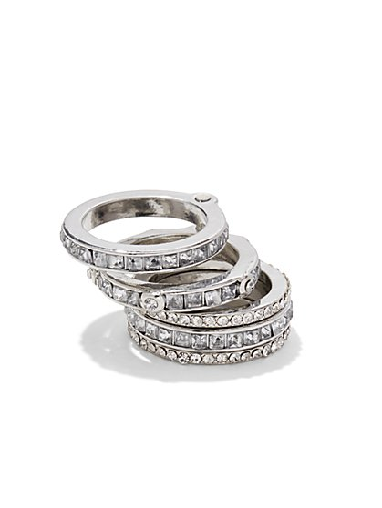 Glittering Silvertone Stacked Ring Set  - New York & Company