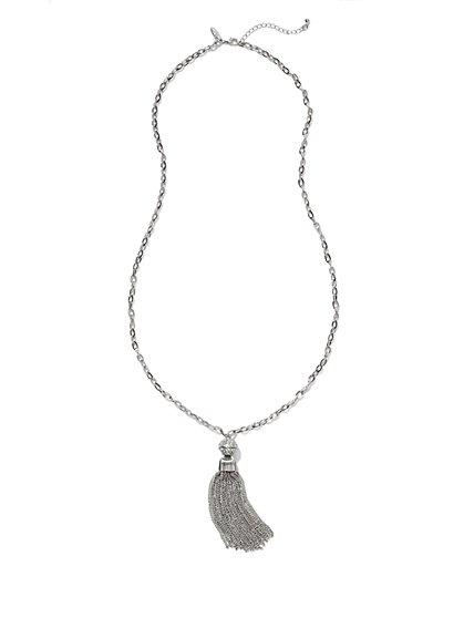 Glittering Tassel Pendant Necklace  - New York & Company