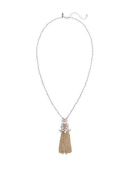 Glittering Tassel Pendant Necklace  - New York & Company