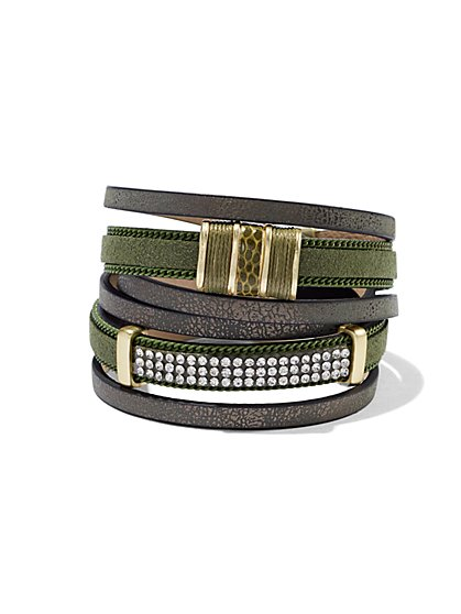 Glittering Three-Row Wrap Bracelet  - New York & Company