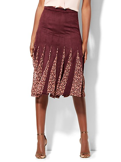 Godet Midi Skirt - Burgundy  - New York & Company