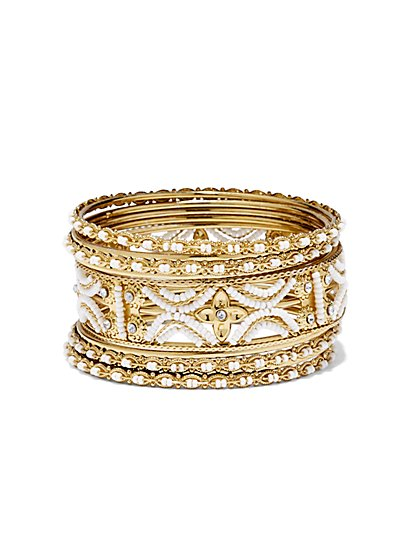 Gold Bangle Bracelet Set  - New York & Company