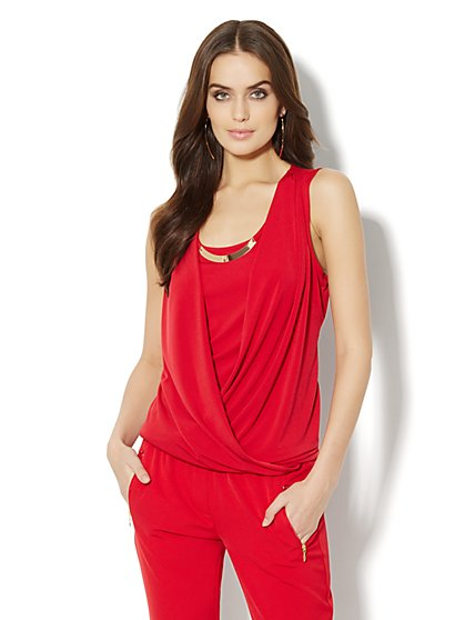 Gold-Hardware Sleeveless Wrap Blouse - New York & Company