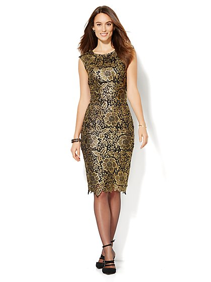 Gold Lace Sheath Dress  - New York & Company