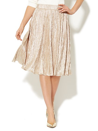 Gold Lamé Circle Skirt  - New York & Company
