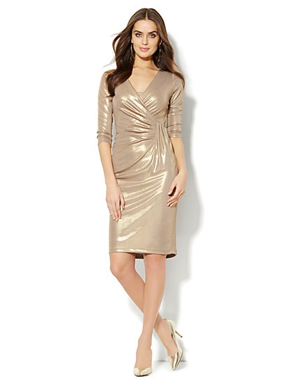 Gold Lamé Draped Dress - New York & Company