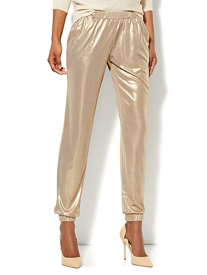 Gold Lame Jogger Soft Pant  - New York & Company
