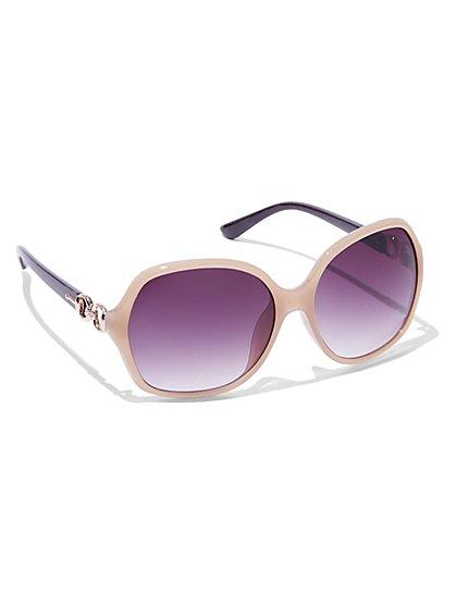Gold-Link Tortoise Sunglasses  - New York & Company