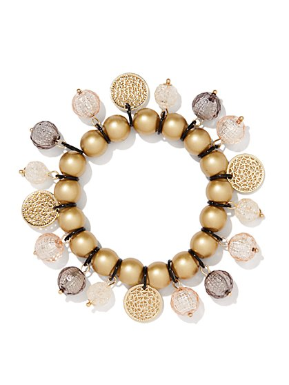 Golden Bead Jangle Stretch Bracelet  - New York & Company
