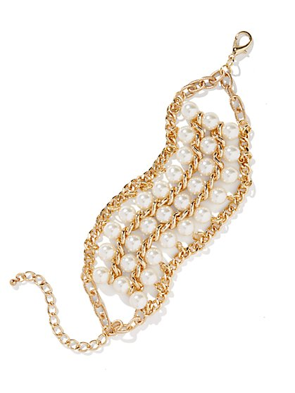 Golden Chain-Links and Faux Pearl Bracelet  - New York & Company
