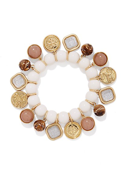 Golden Coins & Beads Jangle Bracelet - New York & Company