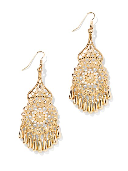 Golden Filigree Chandelier Earring   - New York & Company