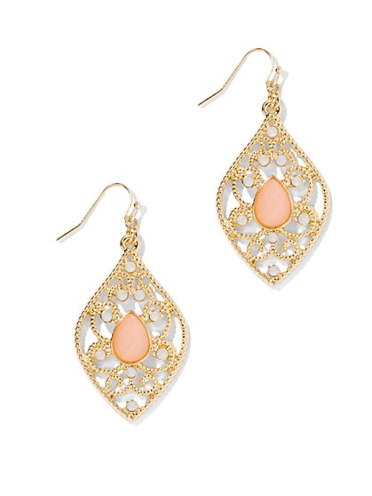 Golden Filigree Faux-Coral Beaded Earring   - New York & Company