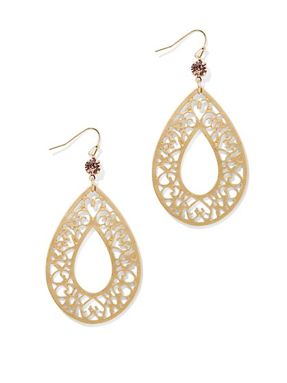 Golden Filigree Open-Teardrop Earring   - New York & Company