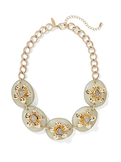 Golden Flowers & Stones Necklace - New York & Company