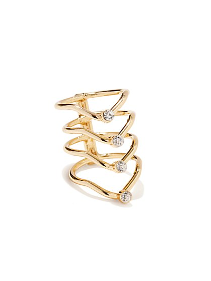 Golden Knuckle Stacked Ring - New York & Company
