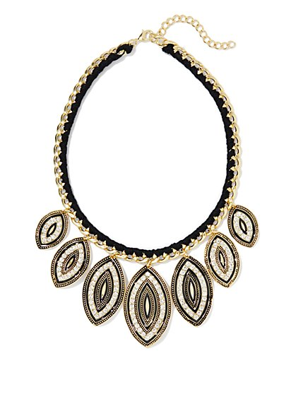 Golden Link & Pavé-Leaf Necklace