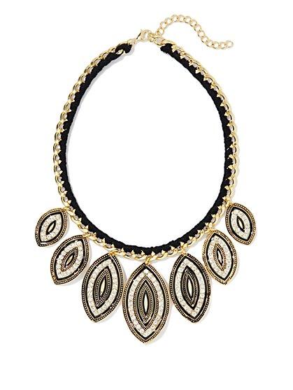 Golden Link & Pavé-Leaf Necklace