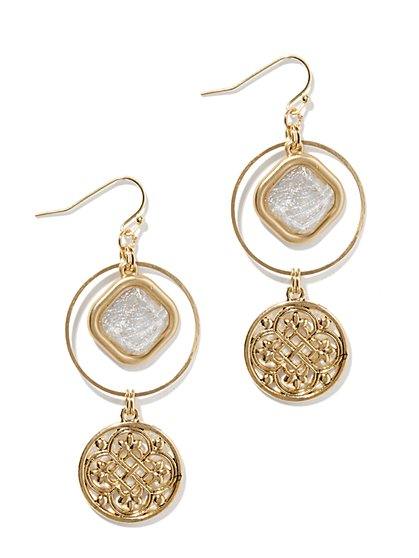 Golden Medallion Double-Drop Earrings