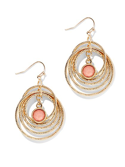 Golden Multi-Hoop Coral Bead Earring  - New York & Company