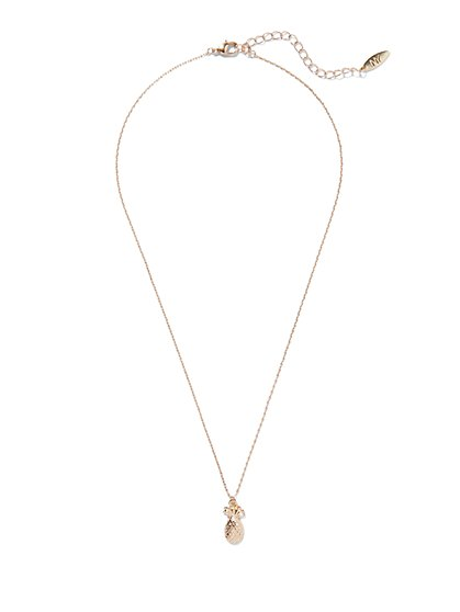 Golden Pineapple Pendant Necklace  - New York & Company