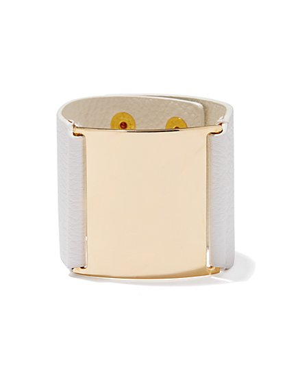 Golden Plate Faux-Leather Snap Bracelet