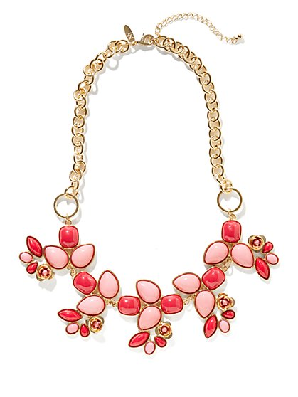 Golden Roses & Cabochons Bib Necklace