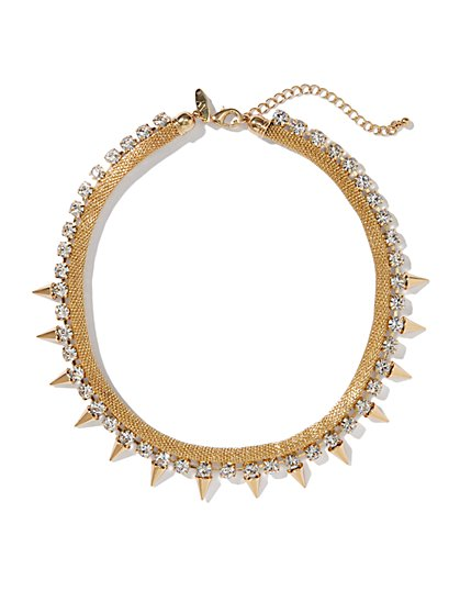 Golden Spikes Collar Necklace - New York & Company