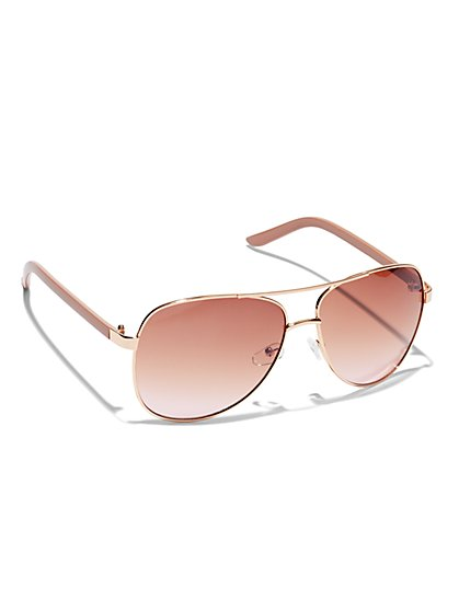 Goldtone Aviator Sunglasses - New York & Company