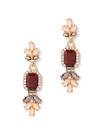 Goldtone Beaded Cluster Drop Earring  - New York & Company