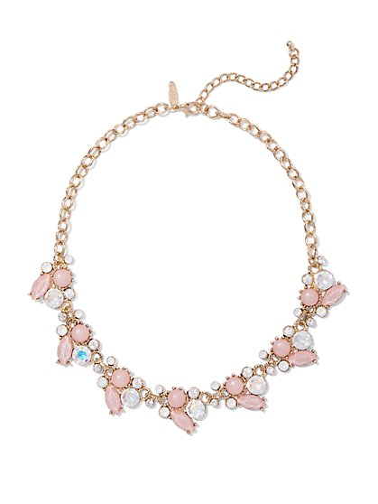 Goldtone Beaded Cluster Necklace  - New York & Company