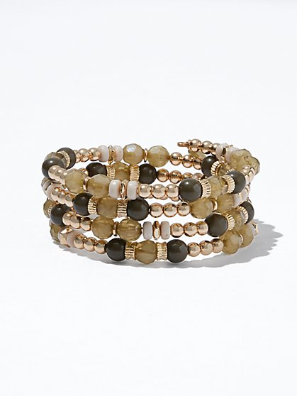 Goldtone Beaded Coil Bracelet  - New York & Company
